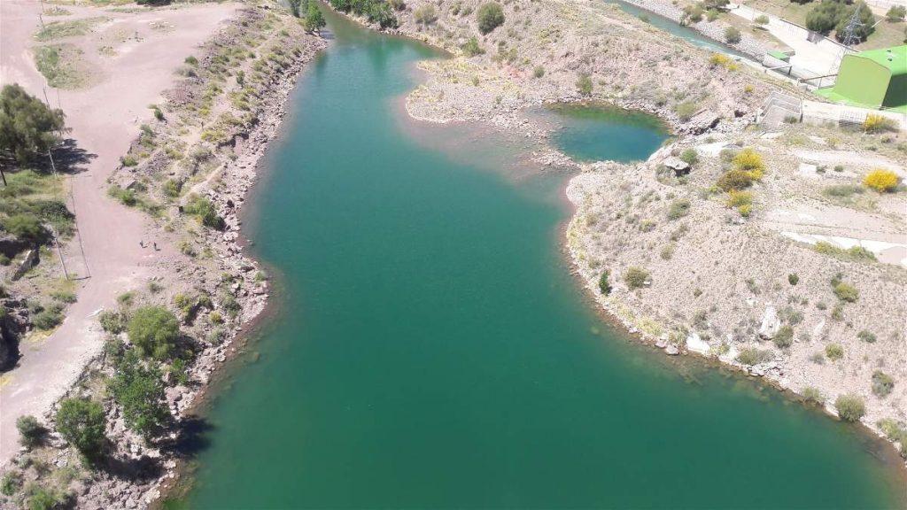 Vista del Río Atuel desde el embalse Grande